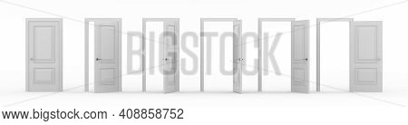 A Set Of White Wooden Doors At Different Stages Of Opening. 6 Stages. Collection Of Doors. Entrance