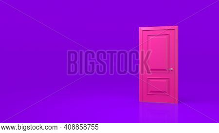 Closed Pink Door Isolated On A Purple Background. Room Interior Design Element. Metaphor Of Possibil