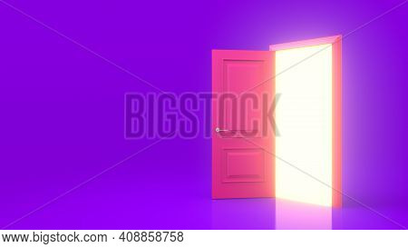 Yellow Light Inside An Open Pink Door Isolated On A Purple Background. Room Interior Design Element.