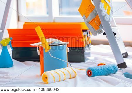Still Life of a Renovation Equipment. Apartment Redecoration. Builder's Workplace.