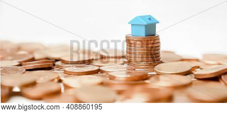 Property Banner Home Money Coins Tower Profit Real Estate Investment Or Household Income Rate. Minia