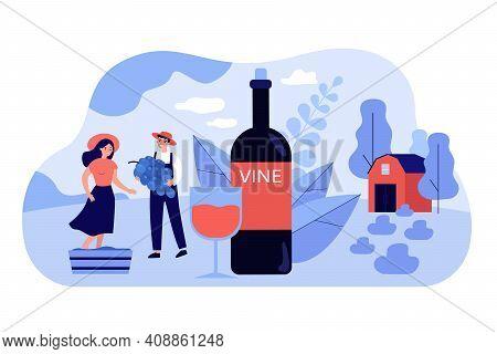 Happy Tiny Couple Producing Natural Wine Flat Vector Illustration. Cartoon Characters Growing Organi