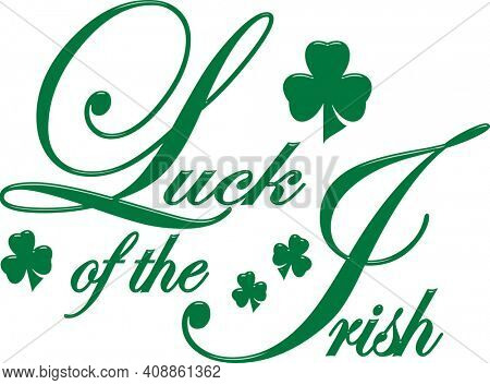 Luck of The Irish Clover Illustration on White with Clipping Path