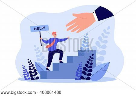 Big Hand Helping Tiny Businessman Flat Vector Illustration. Cartoon Metaphor Of Rescue Solution In D