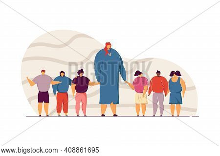 School Teacher And Children Standing Or Walking Together, Holding Hands. Joyful Woman With Group Of
