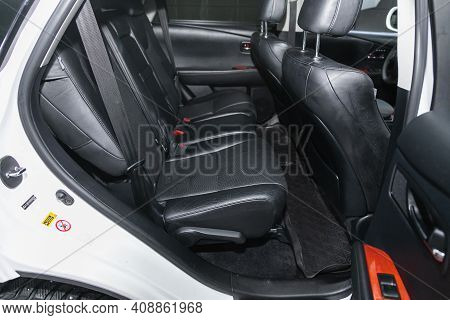 Novosibirsk, Russia - February 18 2021: Lexus Rx450h, Comfort Car Inside. Clean Car Interior: Black