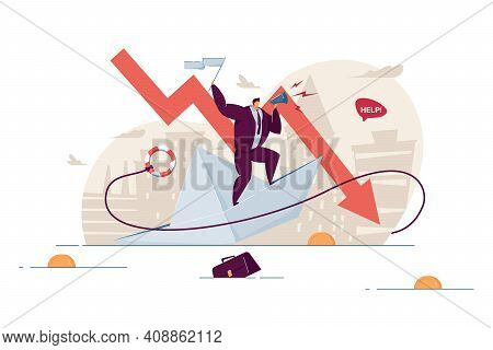 Bankrupt Losing Money And Business. Businessman Asking For Help On Sinking Paper Ship. Vector Illust