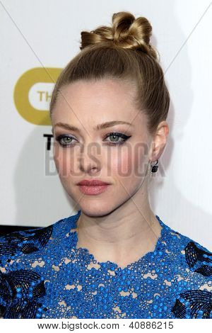 LOS ANGELES - JAN 9:  Amanda Seyfried arrives at the 18th Annual Critics' Choice Movie Awards at Barker Hangar on January 9, 2013 in Santa Monica, CA