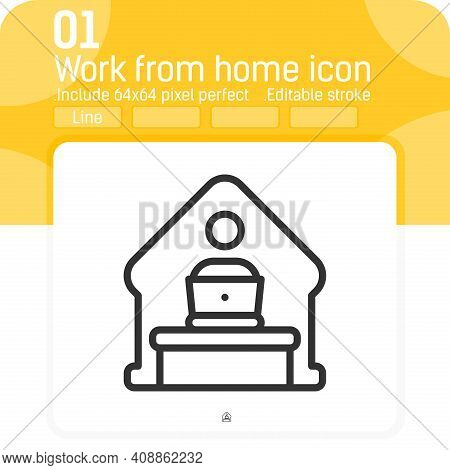 Home Office Remote Work Icon Concept With Line Style Isolated On White Background. Vector Linear Ill