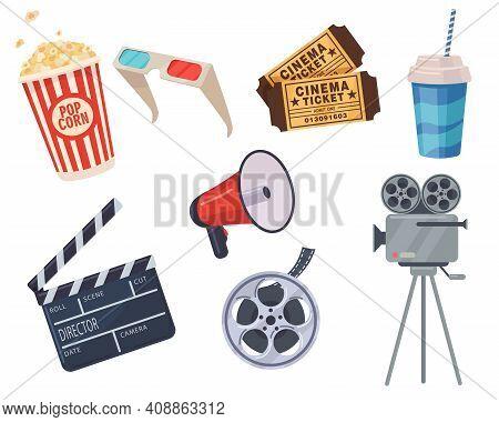 Cinema Elements Set. Tickets, Popcorn Bucket, Megaphone, 3d Glasses, Clapperboard, Montage Tape, Vid