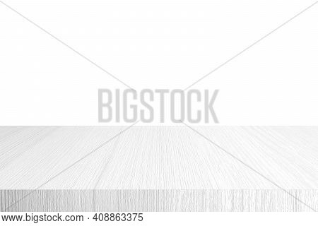 Empty White Wooden Table Top, Desk Isolated On White Background, Wood Table Surface For Product Disp