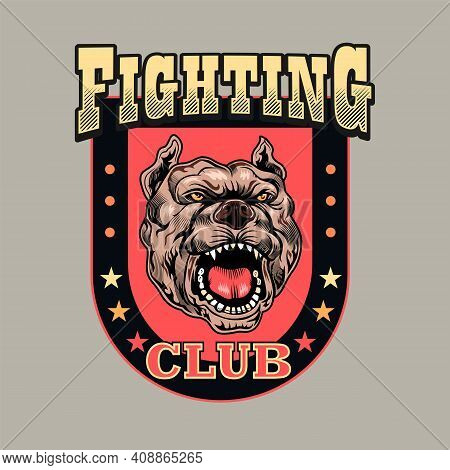 Stylish Emblem With Angry Dog. Colorful Design Elements With Barking Fighting Dog And Text. Sport Ac