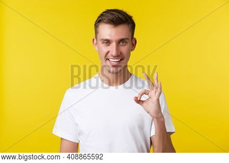 Lifestyle, Summer And People Emotions Concept. Close-up Portrait Of Satisfied Handsome Man, Have All