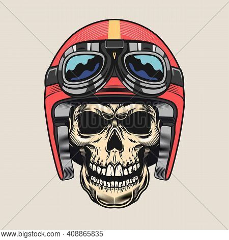 Creative Sticker With Skull Of Speed Racer. Colorful Design Element With Male Skull Wearing Protecti