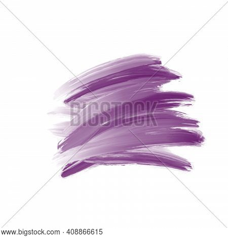 Natural Purple Watercolor Flick Brush Labels. Shapes On White Background. Hand Drawn Ink Water Paint