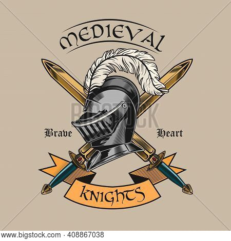 Vintage Sticker With Iron Helmet And Crossed Swords Vector Illustration. Colorful Helmet Od Medieval