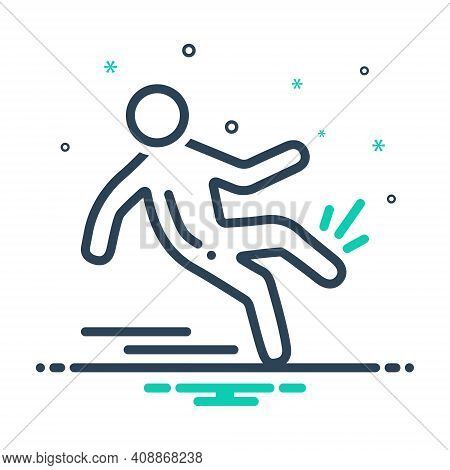 Mix Icon For Slip-and-fall Slip Fall Slippery Injury