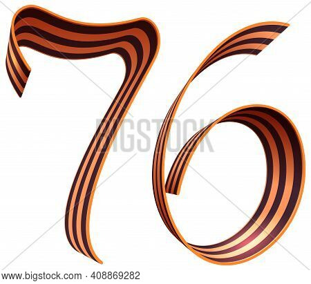 76 Anniversary Of Russian Victory In Great Patriotic War. St. George Ribbon Symbol Victory. Vector I