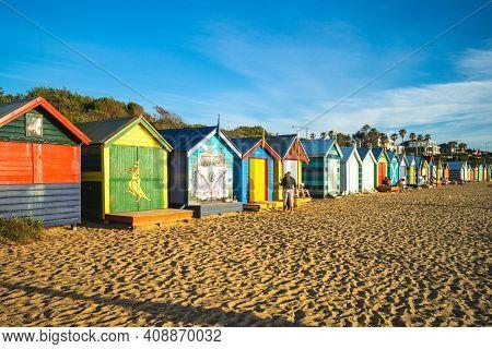 December 27, 2018: Brighton Bathing Boxes At Brighton Beach In Melbourne, Australia. These Boxes Wer