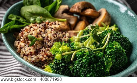 Gourmet Salad Mushrooms And Broccoli And Quinoa, Clean Eating, Dieting, Vegan Food Concept. Banner,