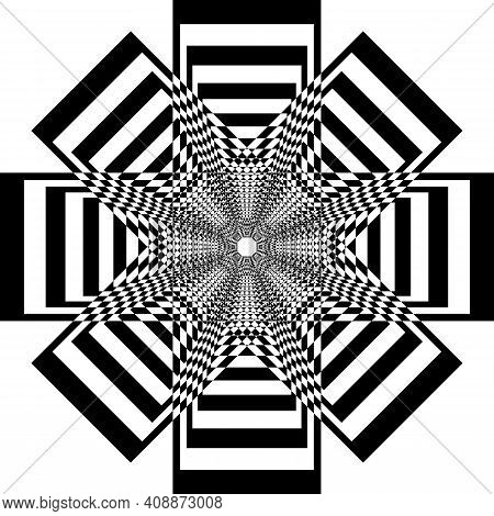 Abstract Frame Multiple Perspective Arabesque Intersections Black On Transparent Background Designer