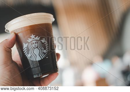 Bangkok, Thailand - January 19, 2021 : Nitro Cold Brew Coffee In Ready To Drink At Starbucks Store C