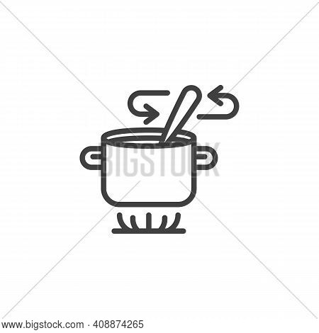 Stirring Soup With Spoon Line Icon. Linear Style Sign For Mobile Concept And Web Design. Soup Prepar
