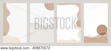 Set Of Abstract Backgrounds For Social Media Stories. Overlapping Smooth Forms Of Skin Tones. Minima