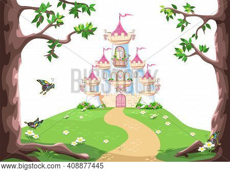 Fairy Background With Princess Castle In The Forest. Castle With Pink Flags, Precious Hearts, Roofs,