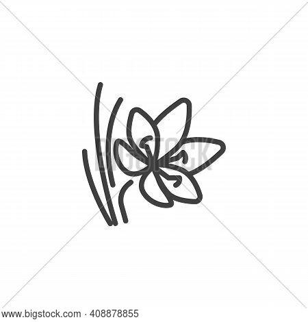 Saffron Flower Line Icon. Linear Style Sign For Mobile Concept And Web Design. Crocus Saffron Outlin