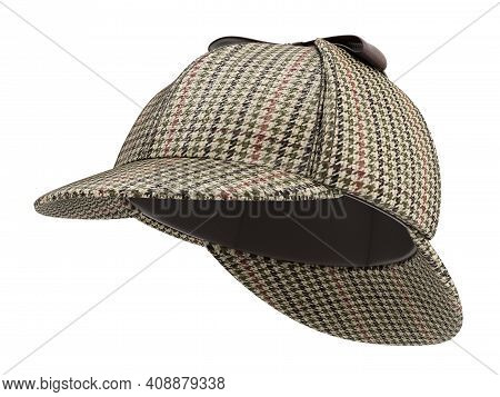 Sherlock Holmes Deerstalker Hat Isolated On White Background - 3d Illustration