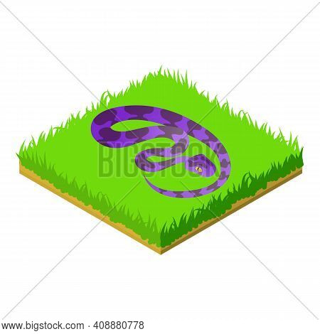 Creeping Snake Icon. Isometric Illustration Of Creeping Snake Vector Icon For Web
