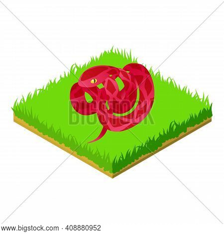 Red Cobra Icon. Isometric Illustration Of Red Cobra Vector Icon For Web