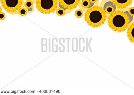 Floral Frame With Orange Sunflowers On White Background. Ornate Border With Flowers. Vector Stock Il