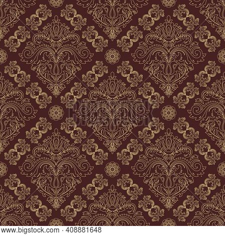 Orient Classic Pattern. Seamless Abstract Background With Vintage Elements. Orient Brown And Golden