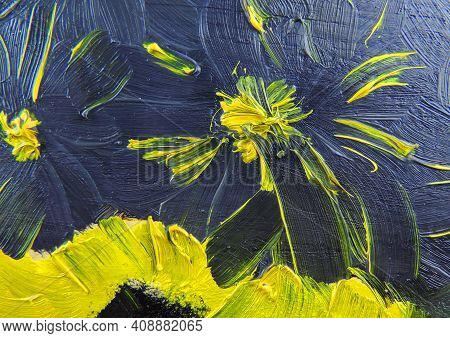 Abstract Paint Texture On Canvas, Yellow Black Paint Strokes. Hand Drawn Oil Painting.  Color Textur