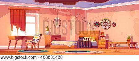 Abandoned Bohemian Bedroom Interior, Empty Neglected Boho Room With Broken Furniture, Cracked Walls