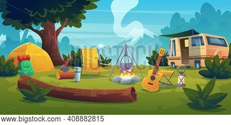Summer Camp With Bonfire, Tent, Van, Backpack, Chair And Guitar. Vector Cartoon Landscape With Mount