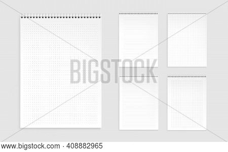 Notebook Sheets, Blank Pages With Lines, Dots And Checks. Memo Pads, Daily Planner Templates, Notepa