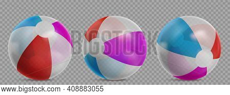 Inflatable Beach Ball For Play In Water, Swim Pool Or Sea. Vector Realistic Set Of Striped Clear Rub