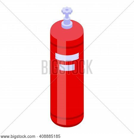 Gas Cylinder Icon. Isometric Of Gas Cylinder Vector Icon For Web Design Isolated On White Background