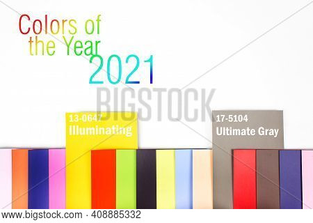 Color Trend 2021. Color Palette With Various Samples. Guide Of Paint Samples Catalog. Color Samples
