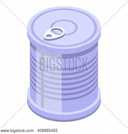 Tin Can Icon. Isometric Of Tin Can Vector Icon For Web Design Isolated On White Background