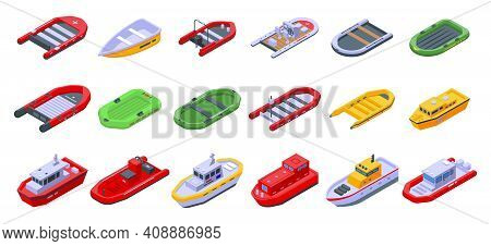 Rescue Boat Icons Set. Isometric Set Of Rescue Boat Vector Icons For Web Design Isolated On White Ba
