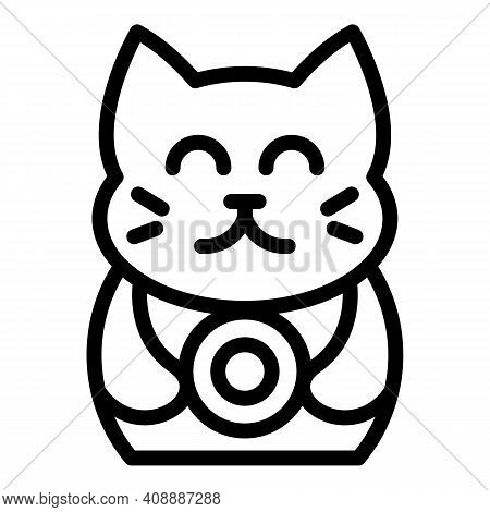 Cat Figurine Icon. Outline Cat Figurine Vector Icon For Web Design Isolated On White Background