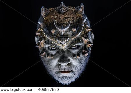 Devil Demon. Head With Thorns Or Warts, Face Covered With Glitters, Close Up. Fantasy Concept. Demon