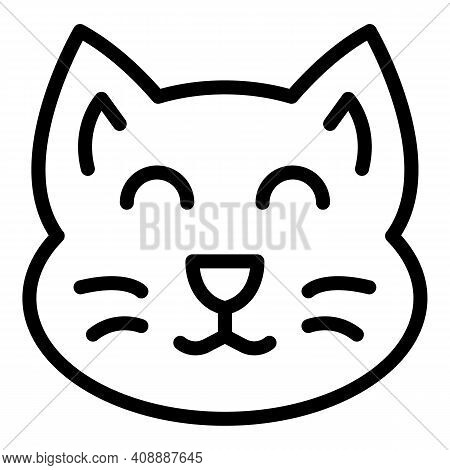 Happy Cat Figurine Icon. Outline Happy Cat Figurine Vector Icon For Web Design Isolated On White Bac