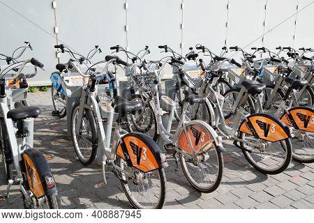 Bordeaux , Aquitaine France - 02 16 2021 : Bordeaux Town Bike Urban City Self Access Service Bicycle