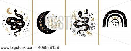 Mystic Cards Set. Mystical Boho Floral Moon, Animal, Moon Serpent, Rainbow Celestial Elements Esoter
