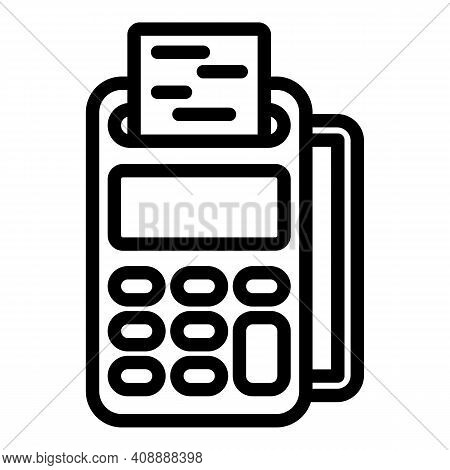 Cash Register Receipt Icon. Outline Cash Register Receipt Vector Icon For Web Design Isolated On Whi